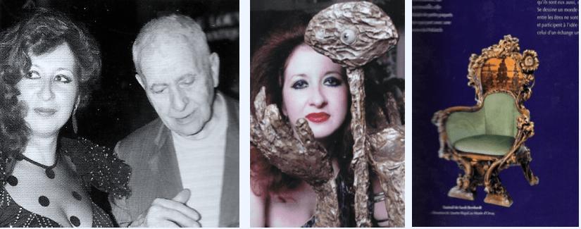 A gauche : Josette Rispal et Aragon, lors de la « Nuit des talents », au jardin du Palais-Royal en 1980. Au centre : « Espoir », bronze, 52 x 34 x 22cm. Susse fondeur, pièce unique. A droite : « Fauteuil de Sarah Bernhardt ». Donation de Josette Rispal au Musée d'Orsay.