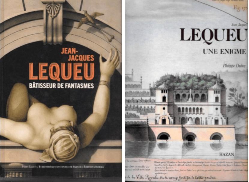 A gauche, couverture du livre édité à l'occasion de l'exposition au Petit Palais. A droite, couverture du seul livre jusqu'alors existant sur Jean-Jacques Lequeu. Philippe Duboy y faisait tant de rapprochements avec Marcel Duchamp (parce que tous deux étaient originaires de Rouen) que je m'étais demandé si Lequeu n'était pas un personnage de son invention.