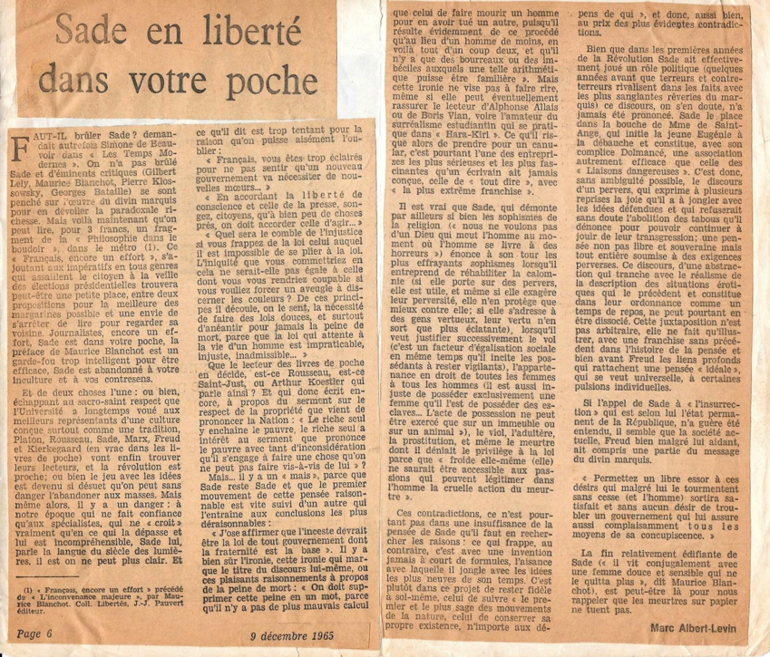 Bien malin qui aurait pu prédire alors que 49 ans plus tard, en 2014, Sade aurait les honneurs du Musée d'Orsay !