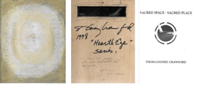 Thom Cooney Crawford, peinture sur bois, 1998, 38 x 24cm. Coll. M. A.-L. A gauche, recto, au centre, verso. A droite, catalogue de T.C.C. intitulé « Espace sacré -Lieu sacré ».