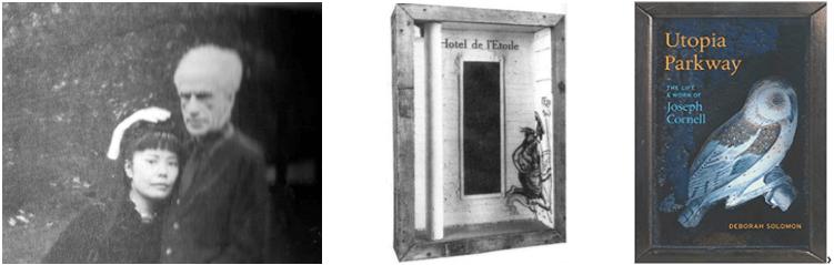 """Yayoï Kusama et Joseph Cornell à Westhampton en 1972 (photo prêtée par le Center for International Contemporary Art, reproduite p. 370 de Utopia Parkway (The Noonday Press, Farrar, Strauss and Giroux: New York 1997. Réédité en 2015). Au centre : """"Hôtel de l'Etoile"""" 1954, p. 216."""