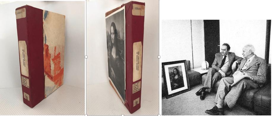 Zéglobo Zéraphim : « L'œuvre complète de Marcel Duchamp ». Rectangle de bois libéré de la bibliothèque de Cooper Union, New York, en 1970. Assorti d'un numéro et de la mention « Demandez au bibliothécaire » pour obtenir « Arturo Schwarz, The Complete Works of Marcel Duchamp », New York, Thames and Hudson, 1969. Recto : une affiche déchirée à la manière de Raymond Hains. Au verso, « L.H.O.O.Q », la Joconde agrémentée d'une moustache, irrespectueusement baptisée par Marchand Du Sel: L. (Elle) H. (a ch…). O. (…aud) O. (au) Q. (cul) ! Photos Charlotte Albert. A droite : Georges Marchais et Louis Aragon contemplant L.H.O.O.Q. de Marcel Duchamp, Extrait de Philippe Duboy « Jean-Jacques Lequeu une énigme » (Hazan, Paris : 1987), p. 350.