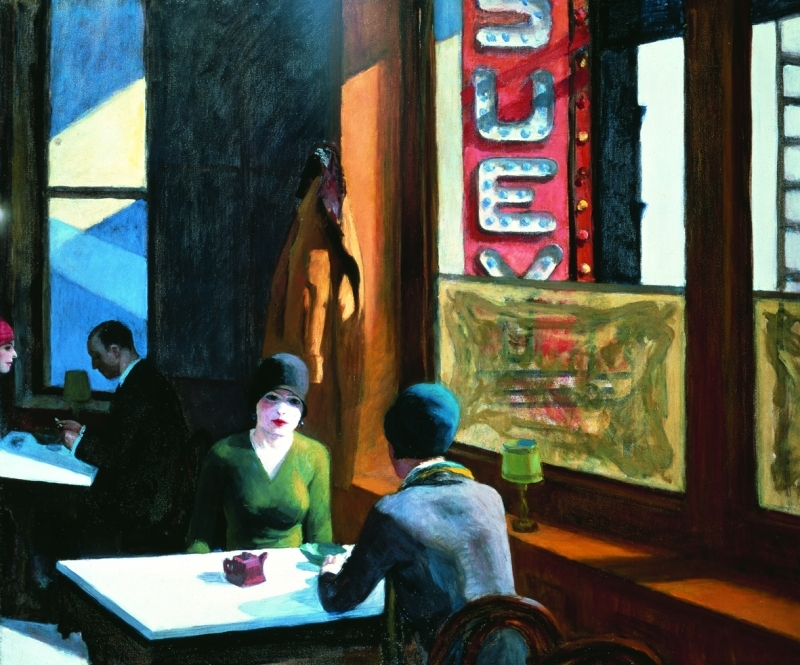 Edward Hopper, Chop suey, 1929, Huile sur toile, 81.3 x 96.5 cm, Collection de Barney A. Ebsworth