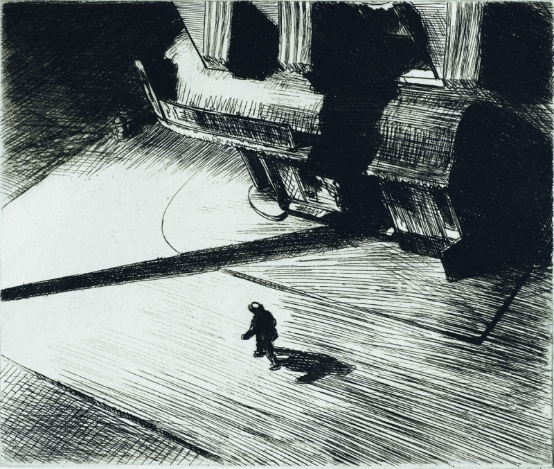 Edward Hopper, Night shadows, 1921, Gravure, 17,5 x 21 cm, Philadelphia Museum of Art : Purchased with the Thomas, Skelton Harrison Fund, 1962