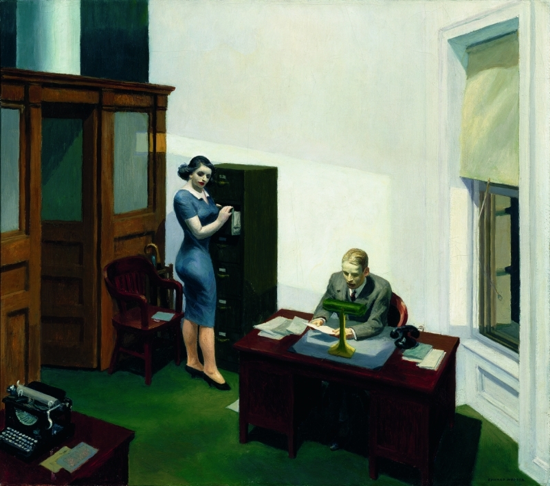 Edward Hopper, Office at night, 1940, Huile sur toile, 56.4 x 63.8 cm, Collection Walker Art Center, Minneapolis; Gift of the T. B. Walker Foundation, Gilbert M. Walker Fund, 1948