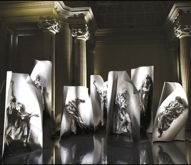 Ernest Pignon-Ernest. Extases. 2008-2014. Vue de l'installation au musée d'art et d'histoire de Saint-Denis, 2010., Courtesy de l'artiste et de la galerie Lelong, Paris.